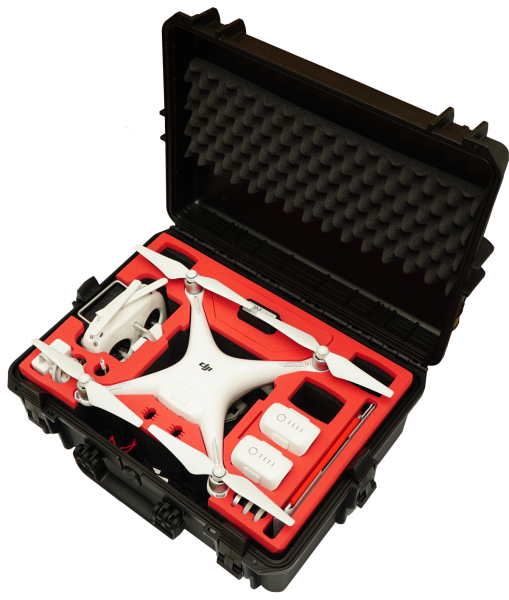 TOMcase Koffer Phantom 4 Pro/Pro Plus schwarz Inlay schwarz/rot PH4-XT505