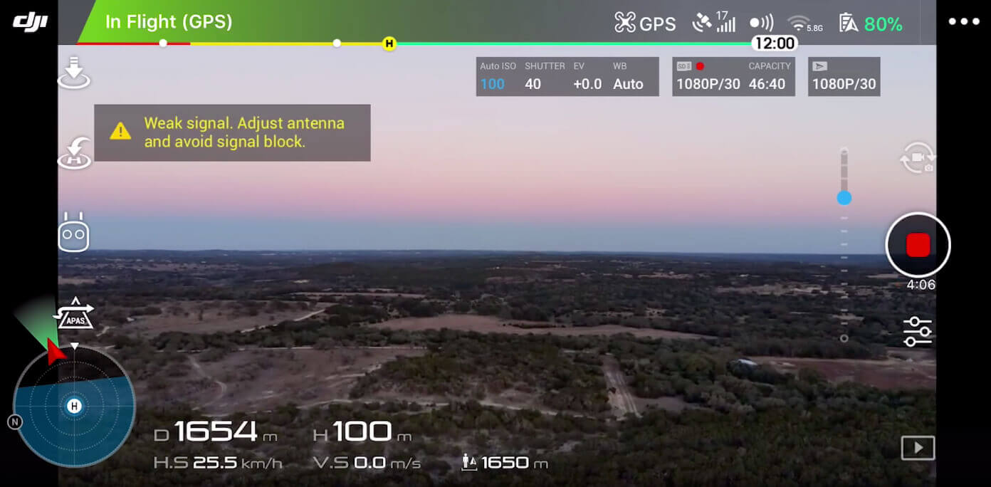 Screenshoot DJI Go 4 App